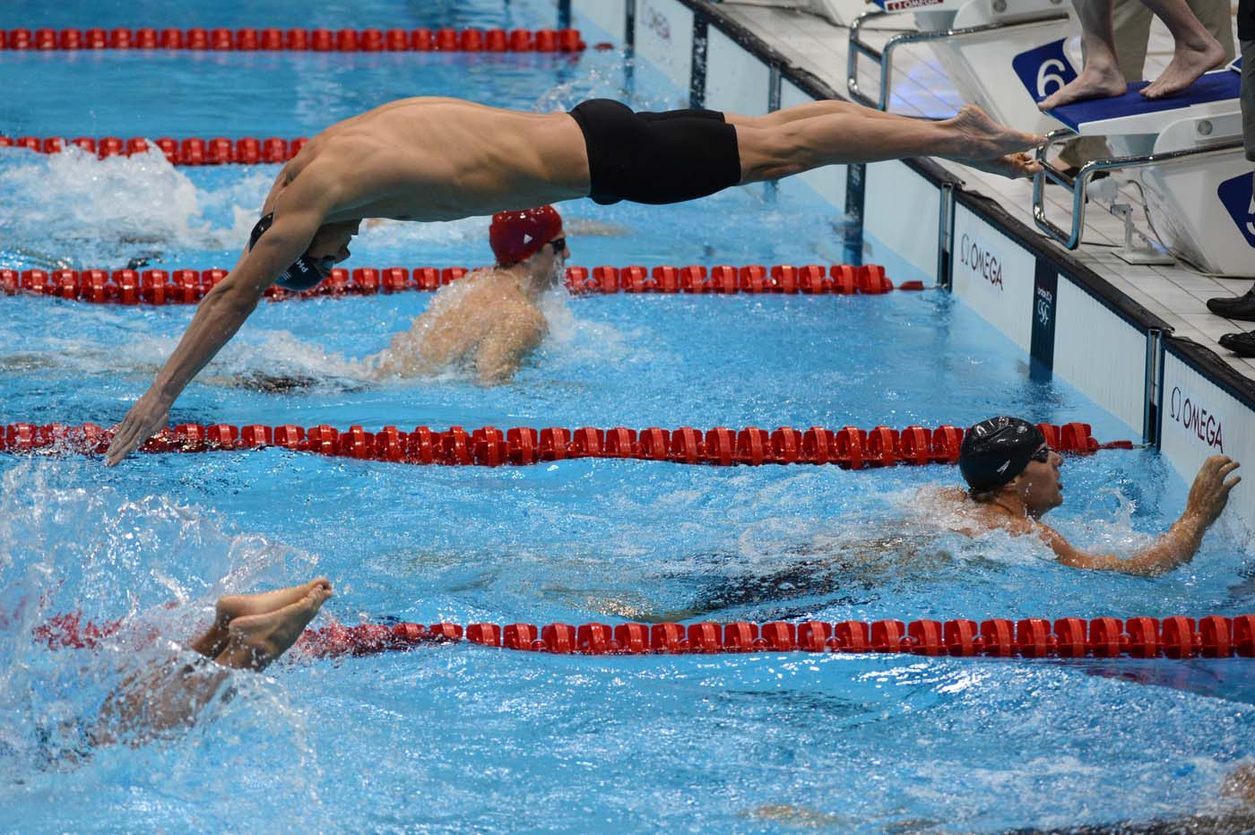 US swimmer Michael Phelps dives as he co