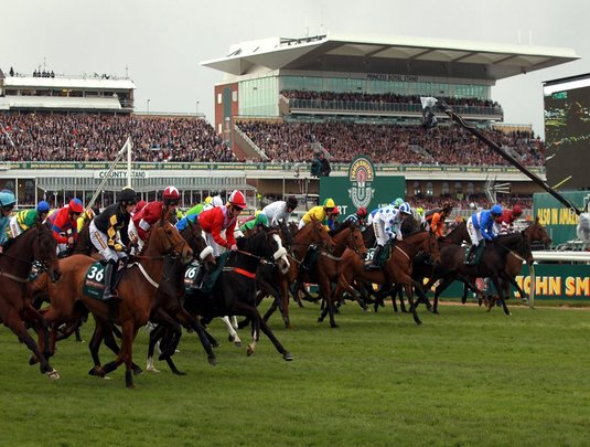 Runners and riders start the John Smith's Grand National Steeple Chase on day three of the 2012 John Smith's Grand National meeting at Aintree Racecourse, Liverpool. PRESS ASSOCIATION Photo. Picture date: Saturday April 14, 2012. See PA story RACING Aintree. Photo credit should read: David Davies/PA Wire